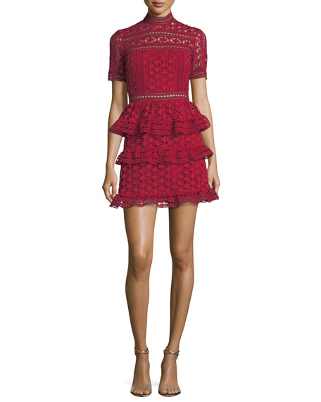 High-Neck Star Lace Paneled Cocktail Dress