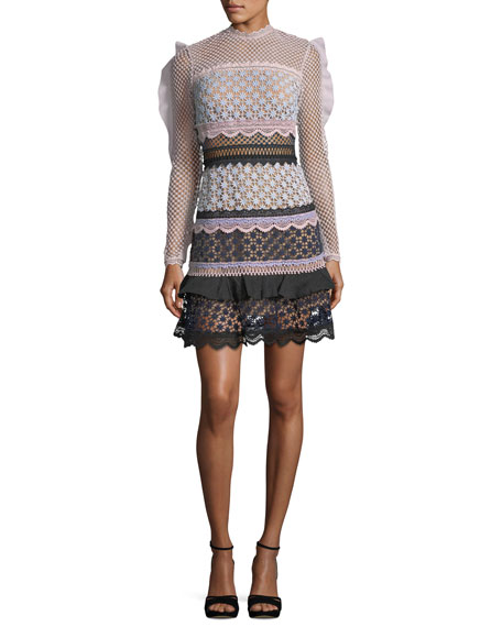 Bellis Frilled-Sleeve Lace Cocktail Dress