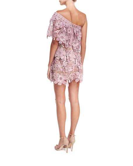 One-Shoulder 3D Floral-Lace Mini Cocktail Dress