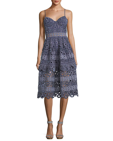 929b53930dd8 Self-Portrait Floral-Embroidered Cutout Cocktail Midi Dress