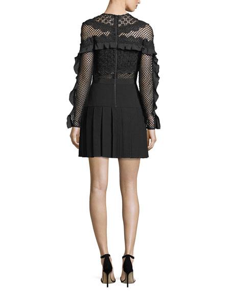 Bellis Mesh Long-Sleeve Lace-Trim Cocktail Dress
