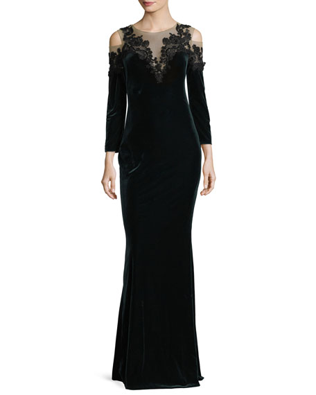 511e569f Marchesa Notte Embroidered Velvet Illusion Column Gown