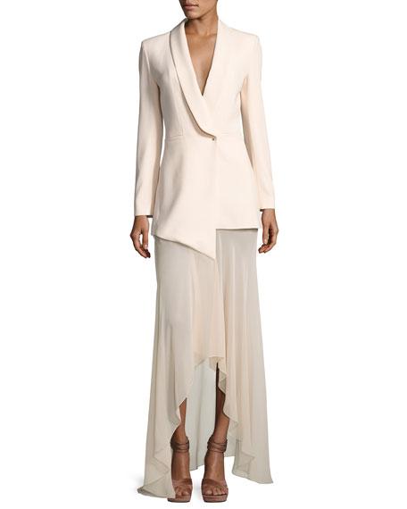 Bonita Mixed-Media Tux Cocktail Dress