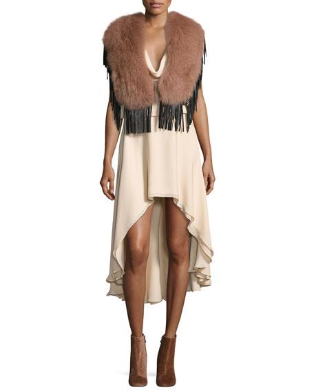 Michelle Sleeveless Cowl-Neck High-Low Dress