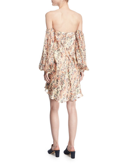 My Amour Off-the-Shoulder Floral-Print Silk Dress