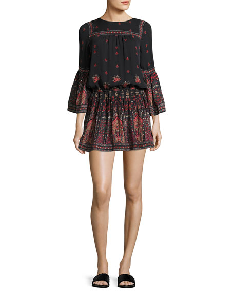 Joie Armel Floral-Print Long-Sleeve Dress, Black