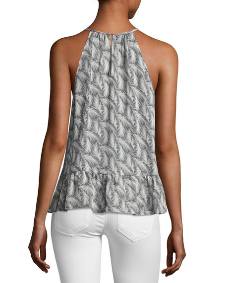 Faustine Feather High-Neck Tank Top, Gray