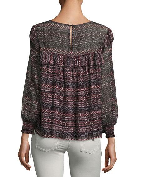 Adelais Geo Stripe Long-Sleeve Blouse