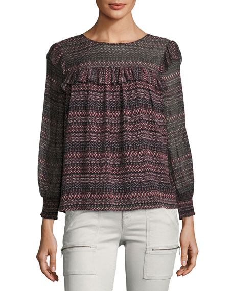 Joie Adelais Geo Stripe Long-Sleeve Blouse
