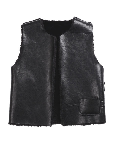 Ellada Faux-Fur Reversible Vest, Black, Size 2-6
