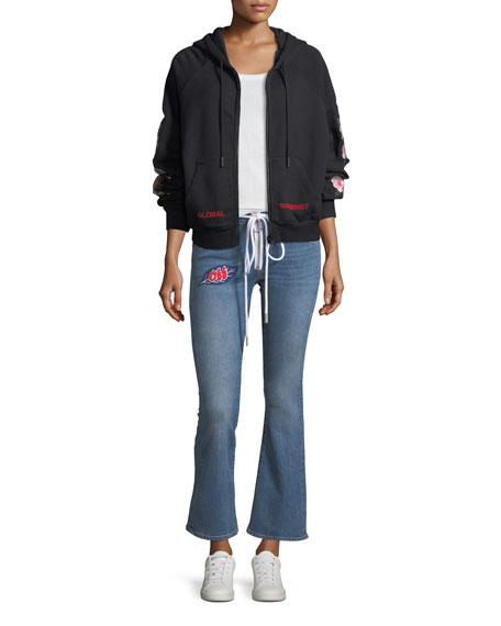 Cropped Zip-Front Denim Jeans