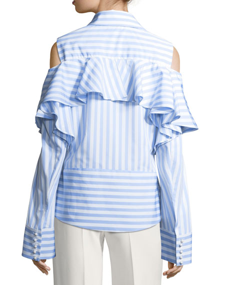 Striped Curtain Ruffle Cold-Shoulder Top