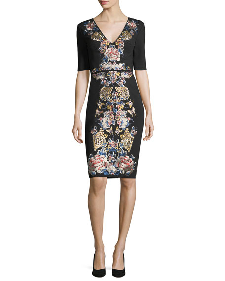 V-Neck Short-Sleeve Floral-Embroidered Cocktail Dress
