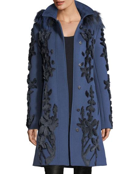 Julia Fur-Trim Appliqué Wool Coat