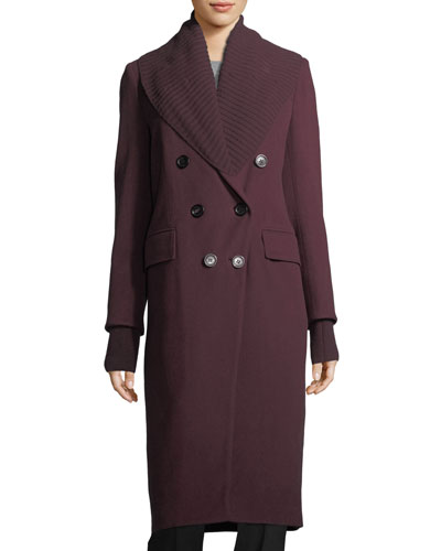 Cashmere Double-Breasted Coat w/ Ribbed Trim