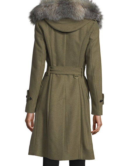 Wool-Blend Trench Coat w/ Fur Trim