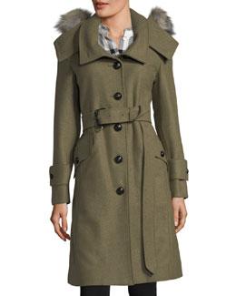 Wool-Blend Trench Coat w/ Fur Trim