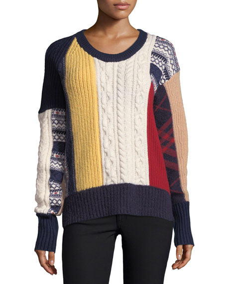 Colorblock Cable-Knit Fair Isle Sweater