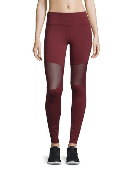 Sycamore Mesh-Panel Compression Running Tights, Burgundy