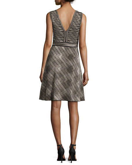 Sleeveless Space-Dyed Fit-&-Flare Dress, Black Pattern