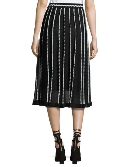 Triangle-Striped A-Line Midi Skirt, Black Pattern