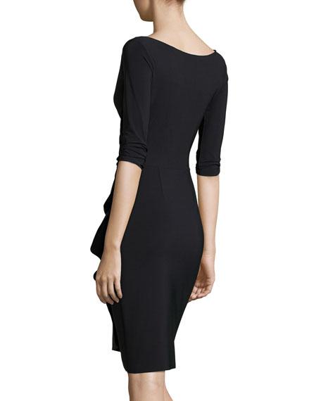 Florien 3/4-Sleeve Jersey Faux-Wrap Dress
