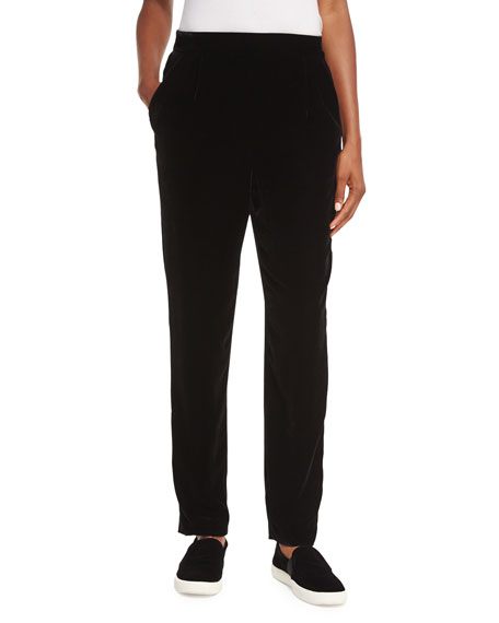 Velvet Single-Pleat Trousers
