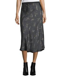 Spring-Floral Midi Slip Skirt