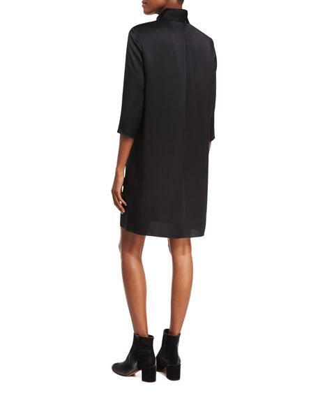 Mock-Neck 3/4-Sleeve Satin Shift Dress