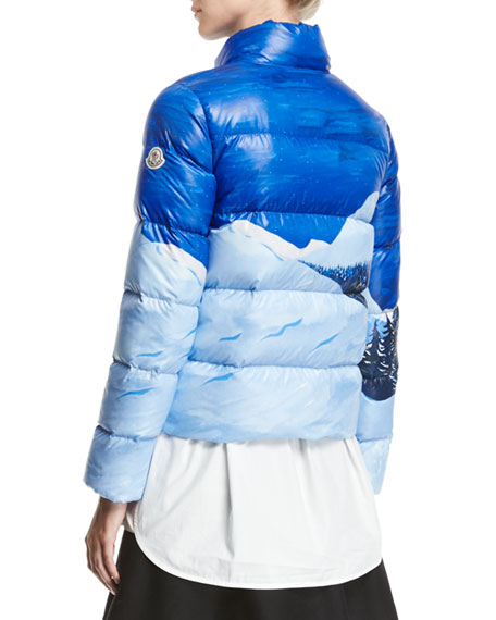 fee85f126 Moncler Brethil Funnel-Collar Zip-Front Quilted Puffer Coat