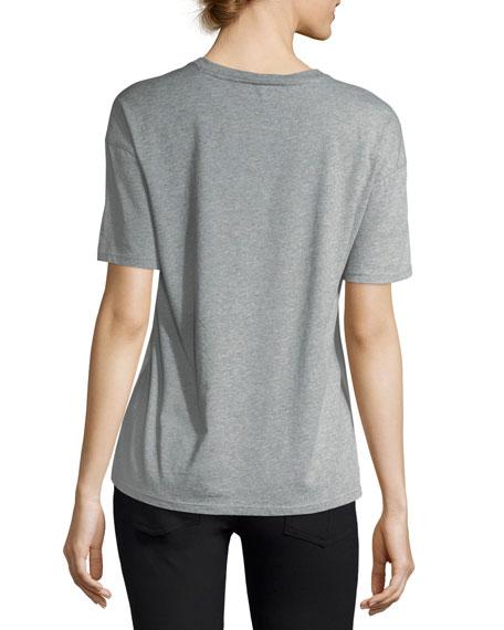 Short-Sleeve Silk-Front Beast-Print T-Shirt