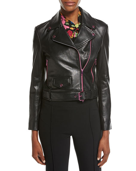 Leather Moto Jacket w/ Contrast Zippers