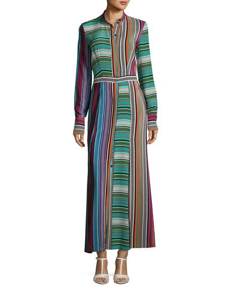 Long-Sleeve Collared Flare Silk Shirtdress