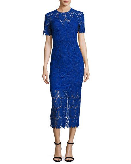 Short-Sleeve Tailored Overlay Midi Dress