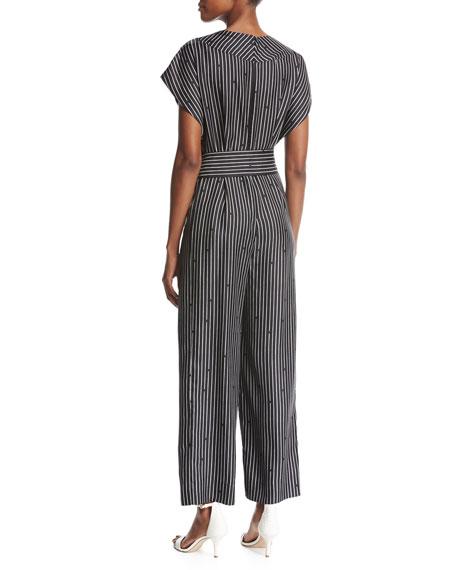Short-Sleeve V-Neck Striped Silk Jumpsuit