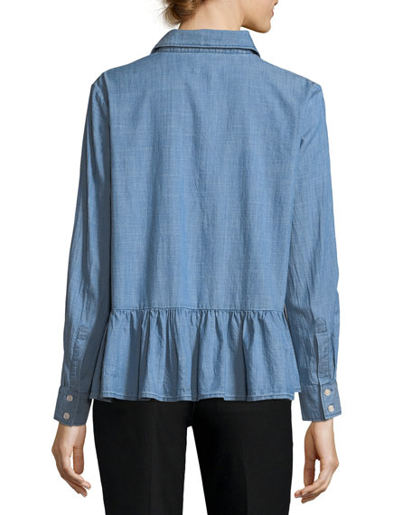 The Ruffle Button-Front Oxford Denim Shirt