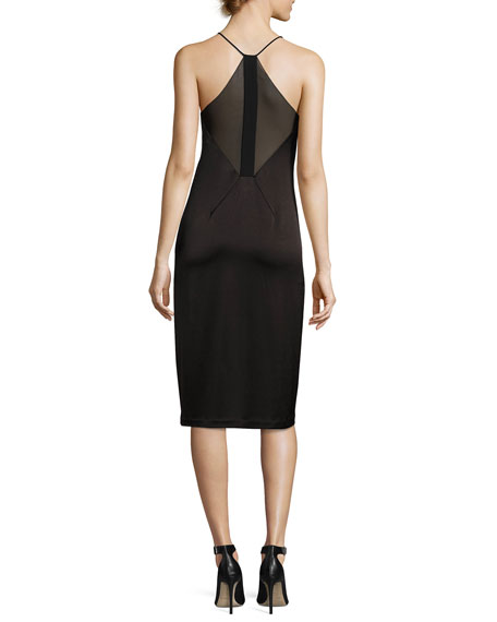 f478c4484c29 Halston Heritage Sleeveless V-Neck Satin Slip Dress