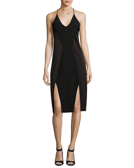 Halston Heritage Sleeveless V-Neck Satin Slip Dress