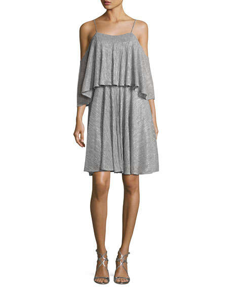 Halston Heritage Cold-Shoulder Textured Metallic Flounce Dress,