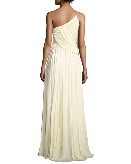 Sleeveless One-Shoulder Draped Jersey Gown, Cream
