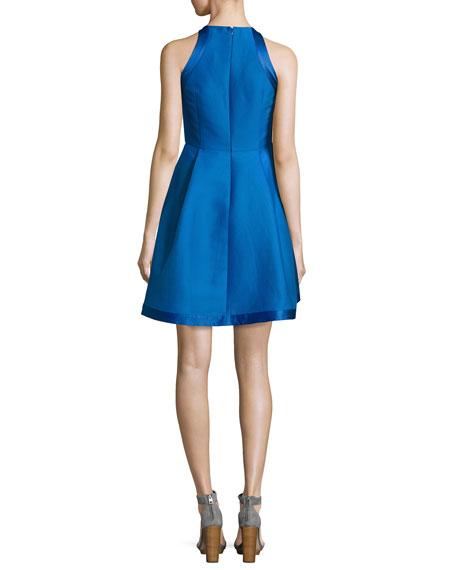 Sleeveless High-Neck Structured Cocktail Dress, Cobalt