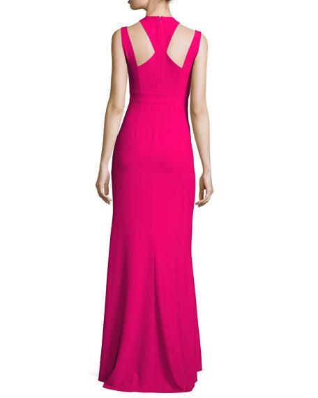 Sleeveless Deep V-Neck Crepe Gown