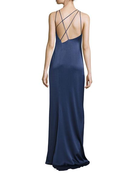 Sleeveless Jewel-Neck Strappy-Back Satin Gown, Navy
