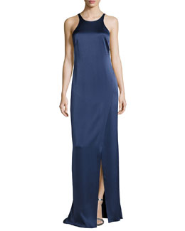 Sleeveless Jewel-Neck Strappy-Back Satin Gown, Navy