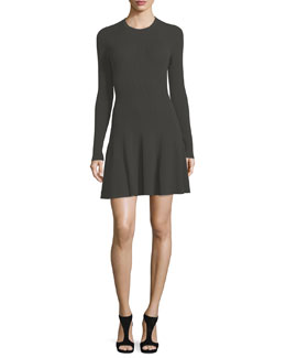 Miriam Long-Sleeve Ribbed Fit-and-Flare Dress