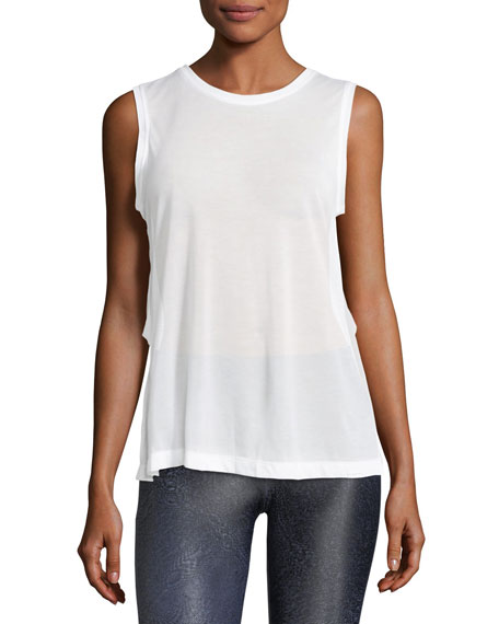 Koral Activewear Pivot Crewneck Sleeveless Mesh-Back Top
