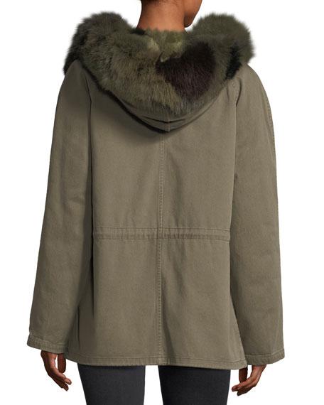 Fur-Trim Canvas Coat