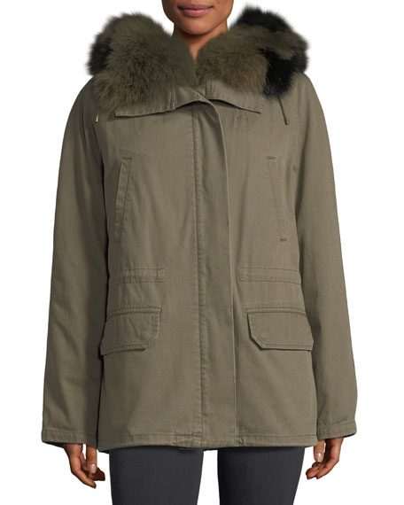 FUR-TRIM CANVAS COAT