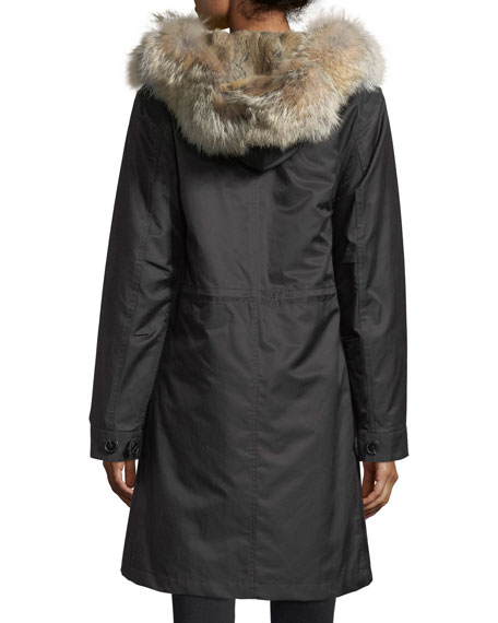 Mid-Length Fur-Trim Parka Coat