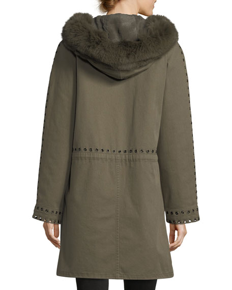 Grommet-Studded Canvas Parka